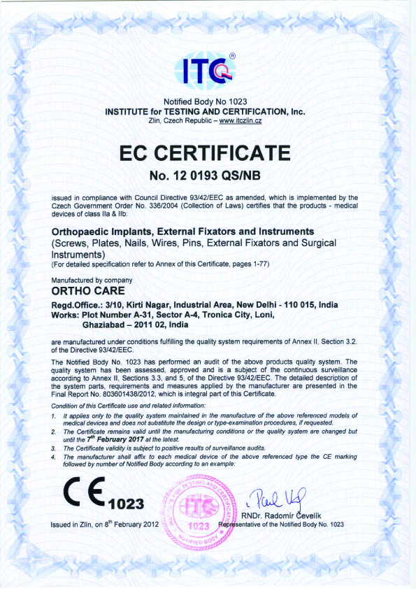 Ortho Care - CE Certificate